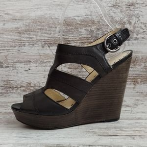 ⚁Coach Leather Stacked Wood Wedge Sandal